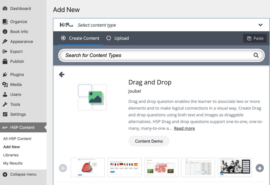 An overview of the Drag and Drop tool, with text description, a button link for Content Demo