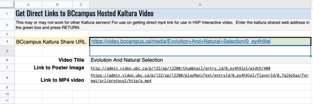 """Spreadsheet view of """"Get Direct Links to BCcampus Hosted Kaltura Video"""" the cell for BCcampus Kaltura Share URL is selected, and we can see that the web address above is entered. Below are cells with values for Video Title, Link to Poster Image, and Link to MP4 video"""