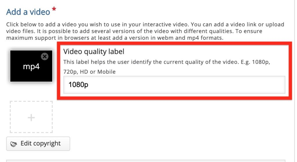 """A black box appears with """"mp4"""" label indicating the video is loaded. The Video quality label field is highlighted to show 1080p entered as the proper value."""