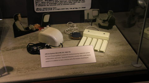 The three button mouse and chord keyboard used with the ON-Line System NLS from 1960-1970