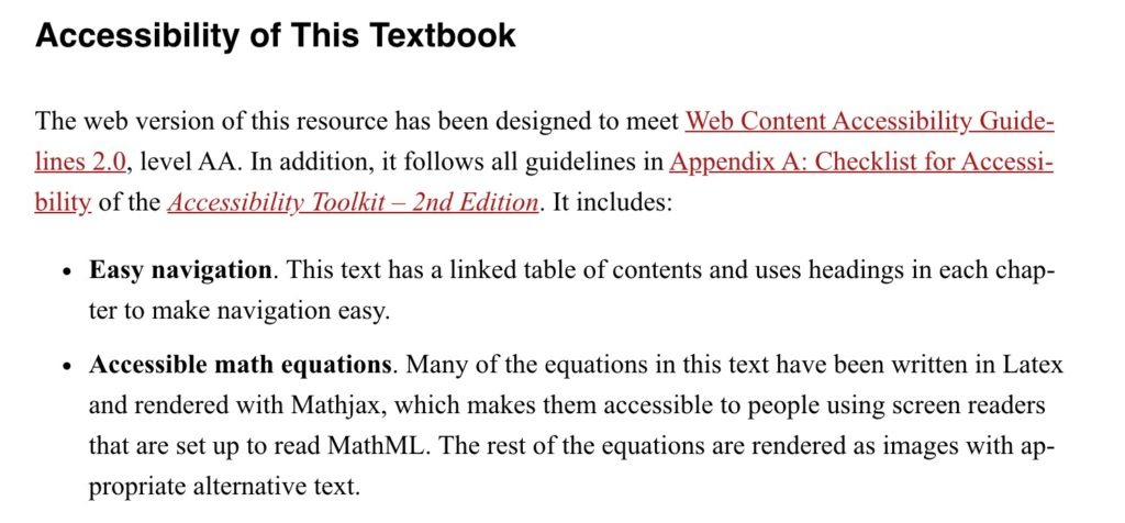 Image of a few paragraphs of a Pressbooks chapter that includes hyperlinks to outside sites